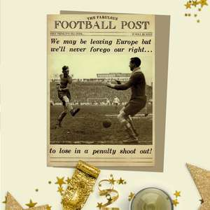 Football Themed Funny Birthday Card And Envelope