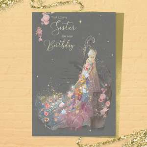 Lovely Sister Birthday Card Alongside Its Gold Coloured Envelope