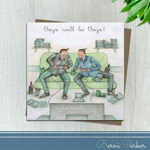 Boys Will Be Boys Gaming Themed Birthday Card Alongside Its Kraft Envelope