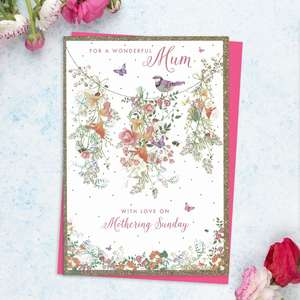 'For A Wonderful Mum With Love On Mothering Sunday' Featuring A Colourful Bird, Butterflies And Lots Of Country Flowers. With Added Gold Sparkle And Bright Pink Envelope