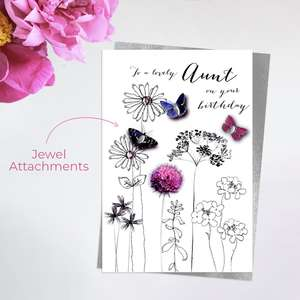 Aunt Birthday Card Alongside Its Silver Envelope
