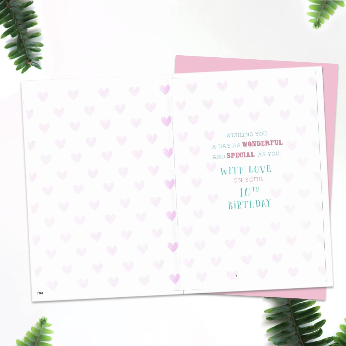 Printed Insert With Pink Hearts And Verse
