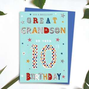 Great Grandson Age 10 Birthday Card Alongside Its Blue Envelope