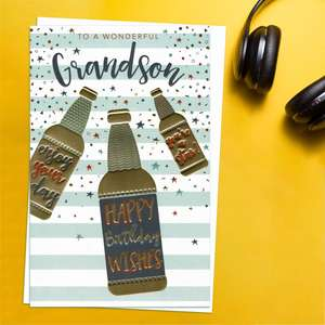 'To A Wonderful Grandson' Birthday Card Featuring Three Beer Bottles In Gold Foiling With Birthday Messages On! Complete With White Envelope
