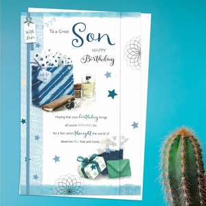 'To A Great Son Happy Birthday' Card Featuring Gifts, Watch, Sunglasses In Vibrant Colours. Three Fold Card with lots Of Heartfelt Verse. Complete With White Envelope