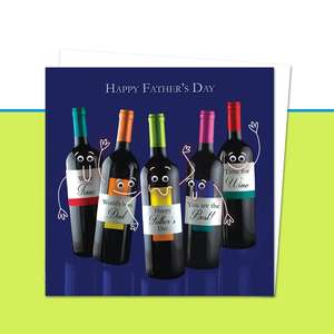 Happy Father's Day Card Front Image Googlie Eye Wine Bottles