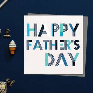 Geometric Text Happy Father's Day Card - Front Image