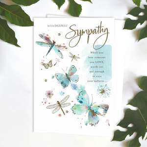 With Deepest Sympathy Dragonflies & Butterflies Card Front Image
