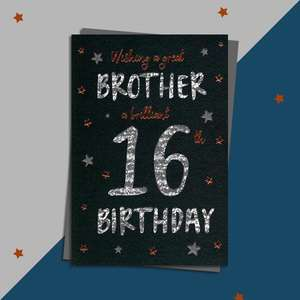 Brother Age 16 Birthday Card Alongside Its Silver Envelope