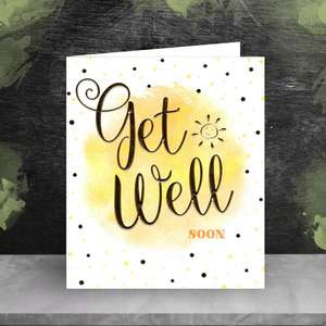 Get Well Soon Card Sitting On A Wooden Shelf