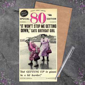 80th Female Birthday Card Alongside Its Kraft Envelope