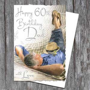 Dad 60th Birthday Card Alongside Its White Envelope