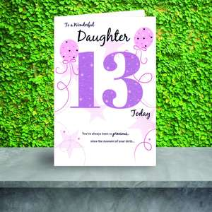 Daughter Age 13 Card Sitting On The Shelf