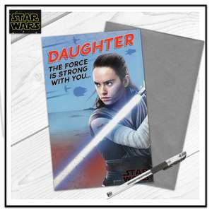 Daughter Star Wars Birthday Card Alongside Its Silver Envelope