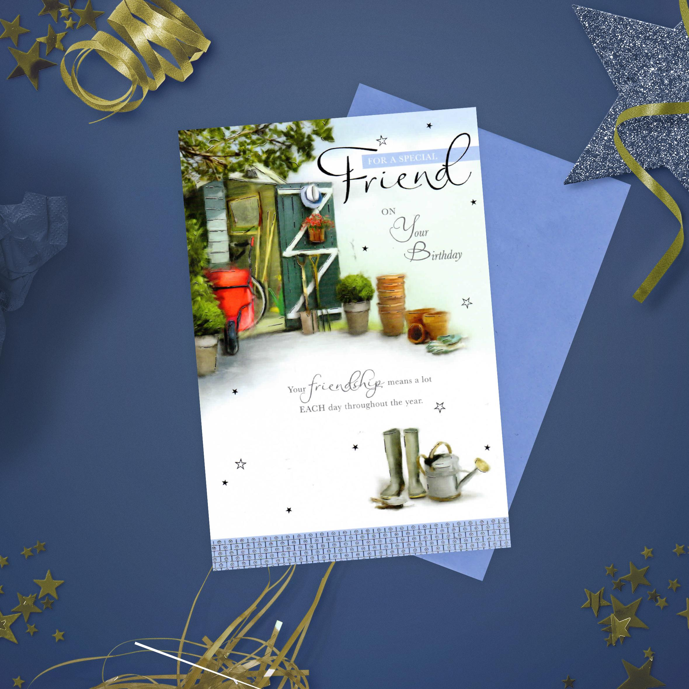 Friend Garden Shed Birthday Card Alongside Its Blue Envelope