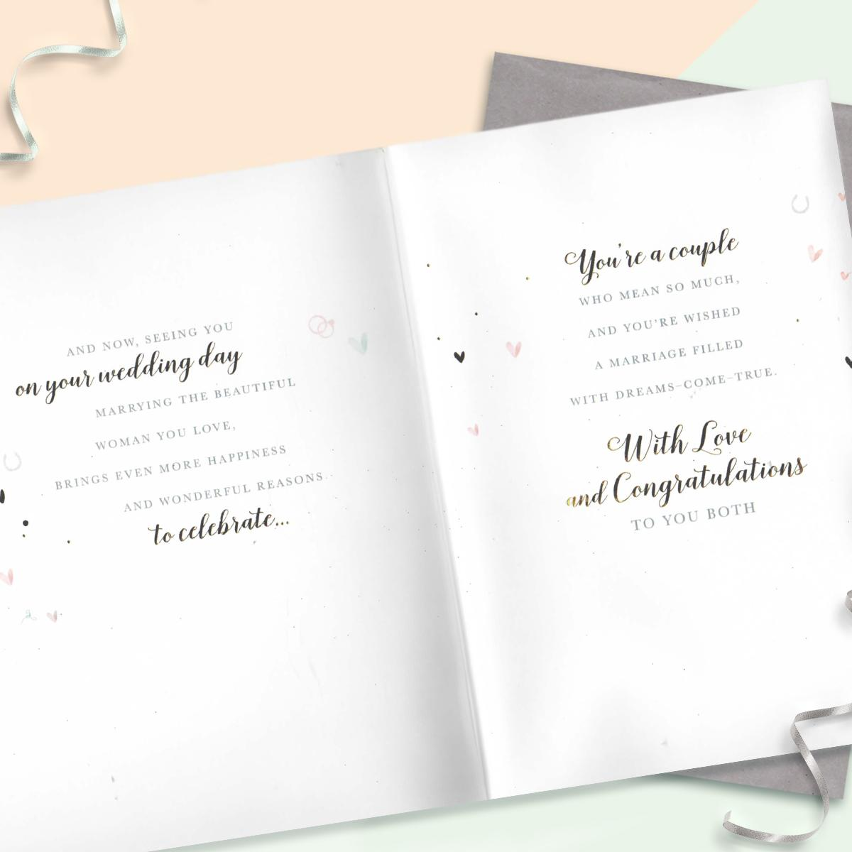 Inside Of Grandson Wedding Card Showing Layout And Printed Text