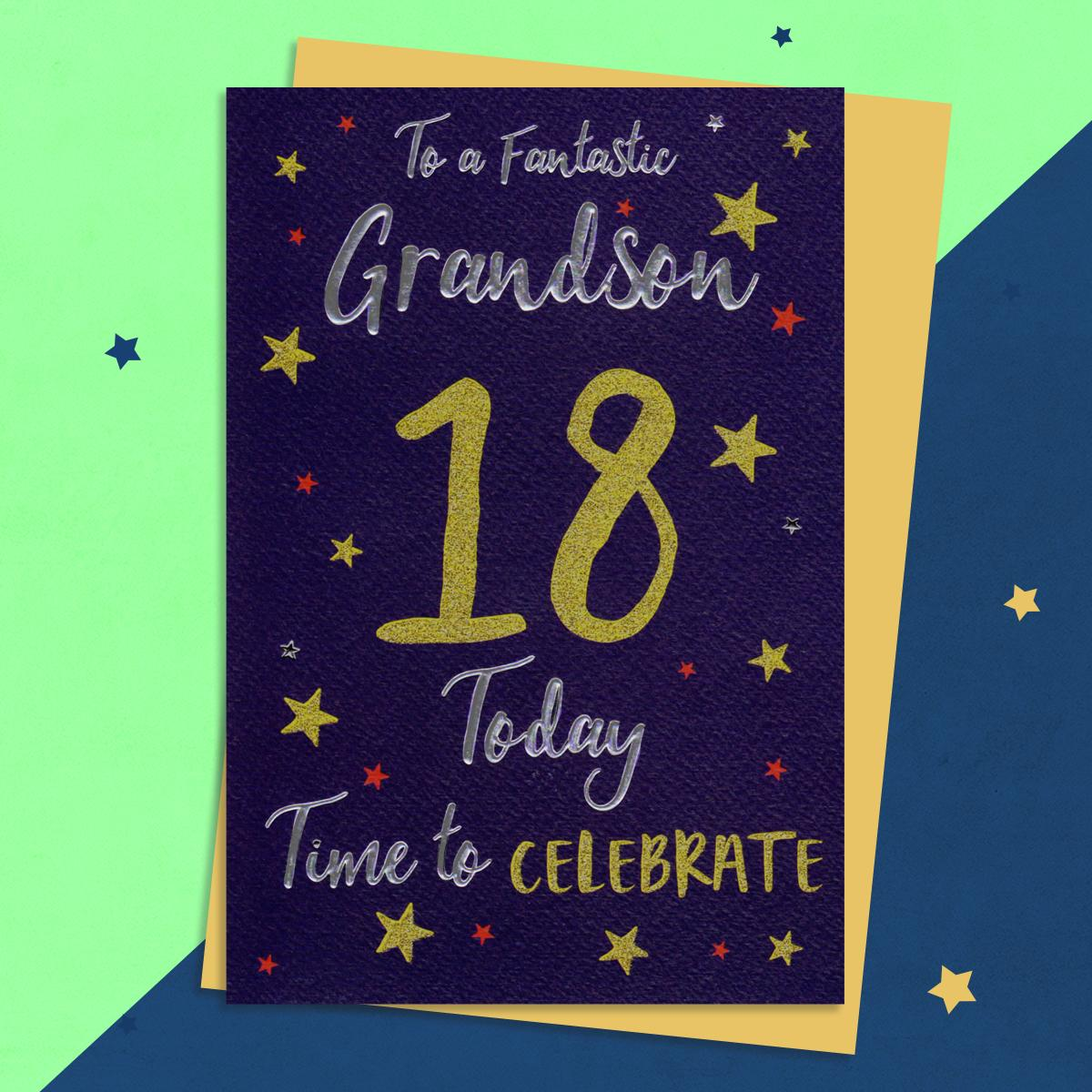 Grandson Age 18 Birthday Card Sitting On A Display Shelf