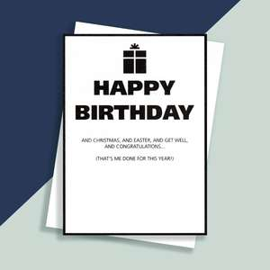 Black And White Funny Birthday Card And Envelope