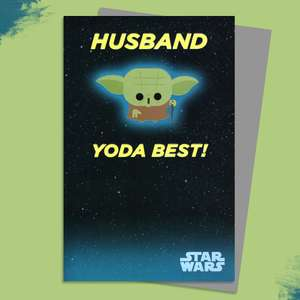 Star Wars Husband Birthday Card Sat On A Wooden Display Shelf