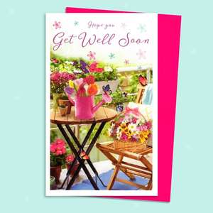 Floral Garden Get Well Soon Card Sitting On A Display Shelf
