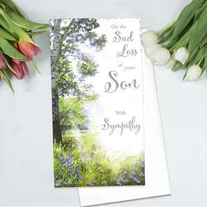 Loss Of Son Sympathy Card Alongside Its White Envelope