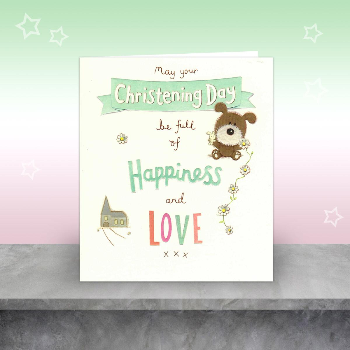 Lots Of Woof Christening Card Displayed On A Wood Shelf