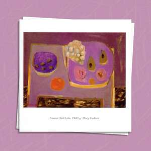 Mauve Still Life Art Card Alongside Its White Envelope