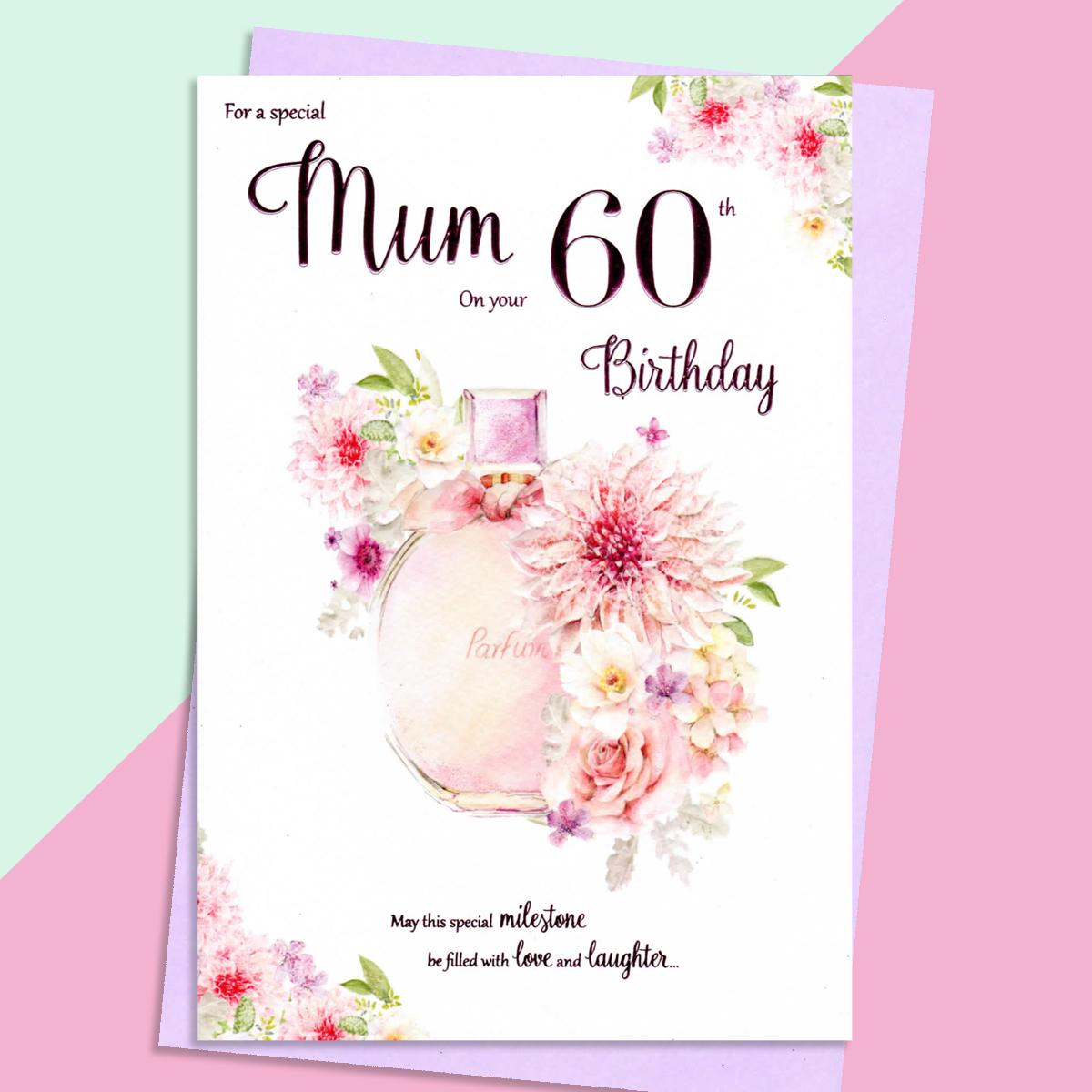 Mum Age 60 Birthday Card Alongside Its Lilac Envelope