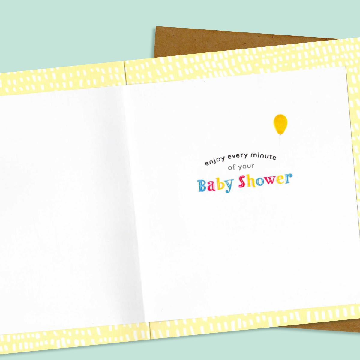 Inside Image Of Baby Shower Card To Show Printed Text And Layout