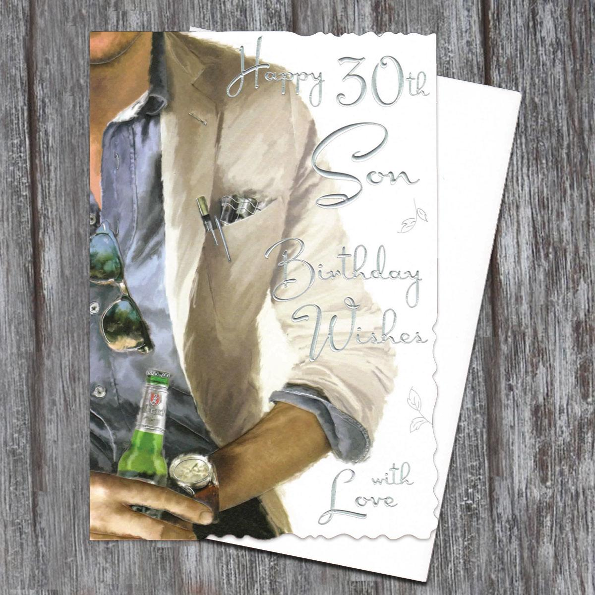 Son Age 30 Birthday Card Alongside Its White Envelope