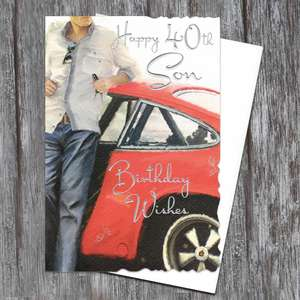 Son Age 40 Birthday Card Alongside Its White Envelope
