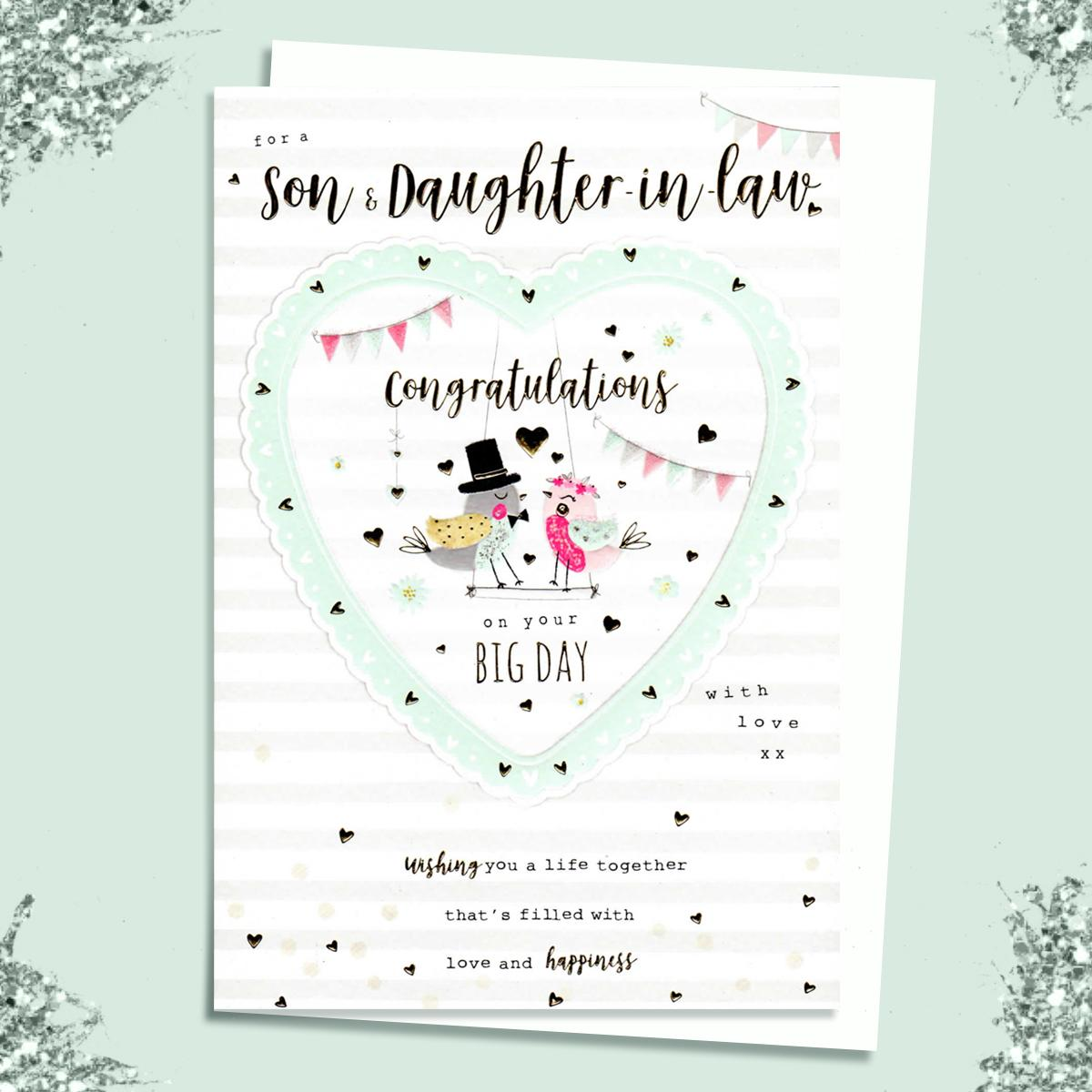 Son And Daughter In Law Wedding Day Card Sitting On A Display Shelf