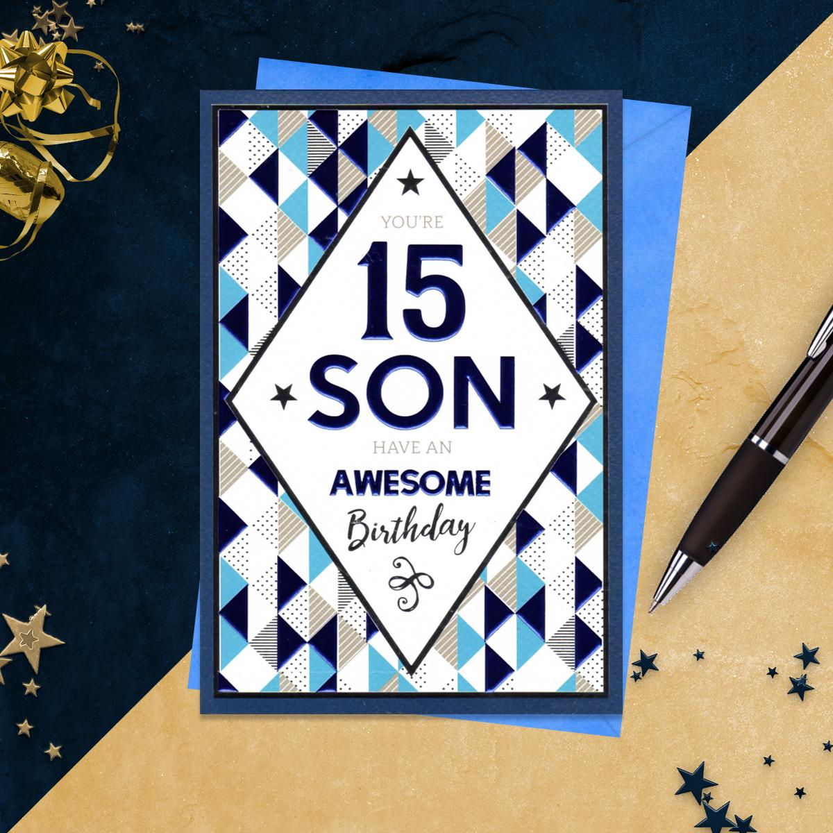 15th Son Birthday Card Alongside Its Blue Envelope