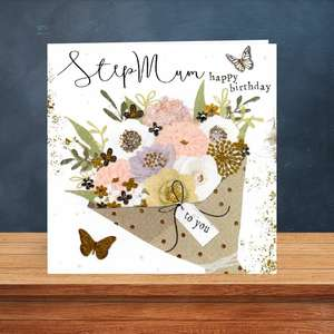 Stepmum Birthday Card Sitting On A Wooden Display Shelf