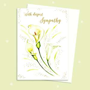 White Calla Lilly Sympathy Card Sitting On A Display Shelf
