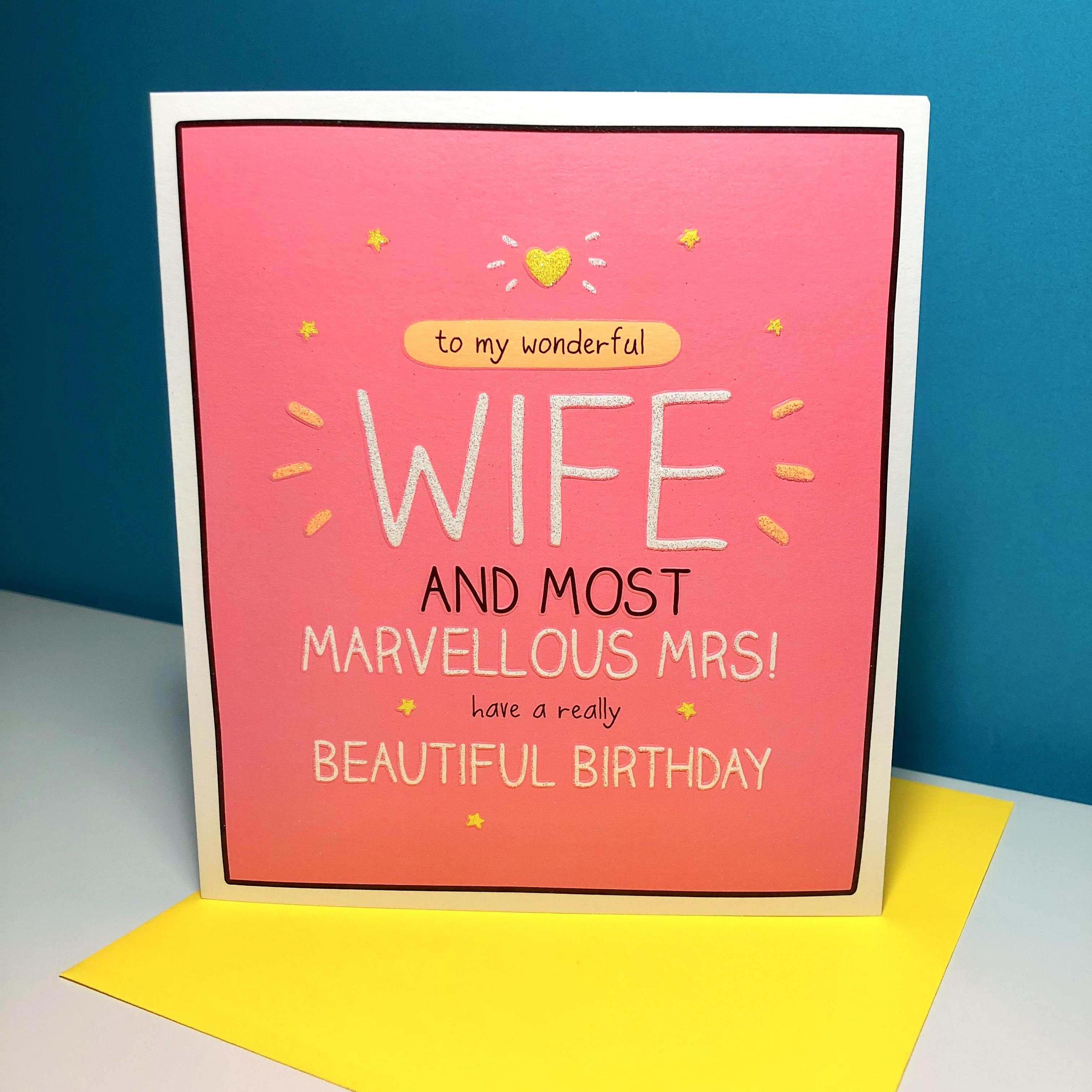 Happy Jackson Wife Birthday Card Sitting On Its Neon Yellow Envelope