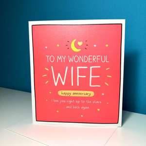 Funny Wife Anniversary Card Sitting On A Display Shelf