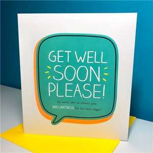 Get Well Soon Please Greeting Card Alongside Its Neon Yellow Envelope