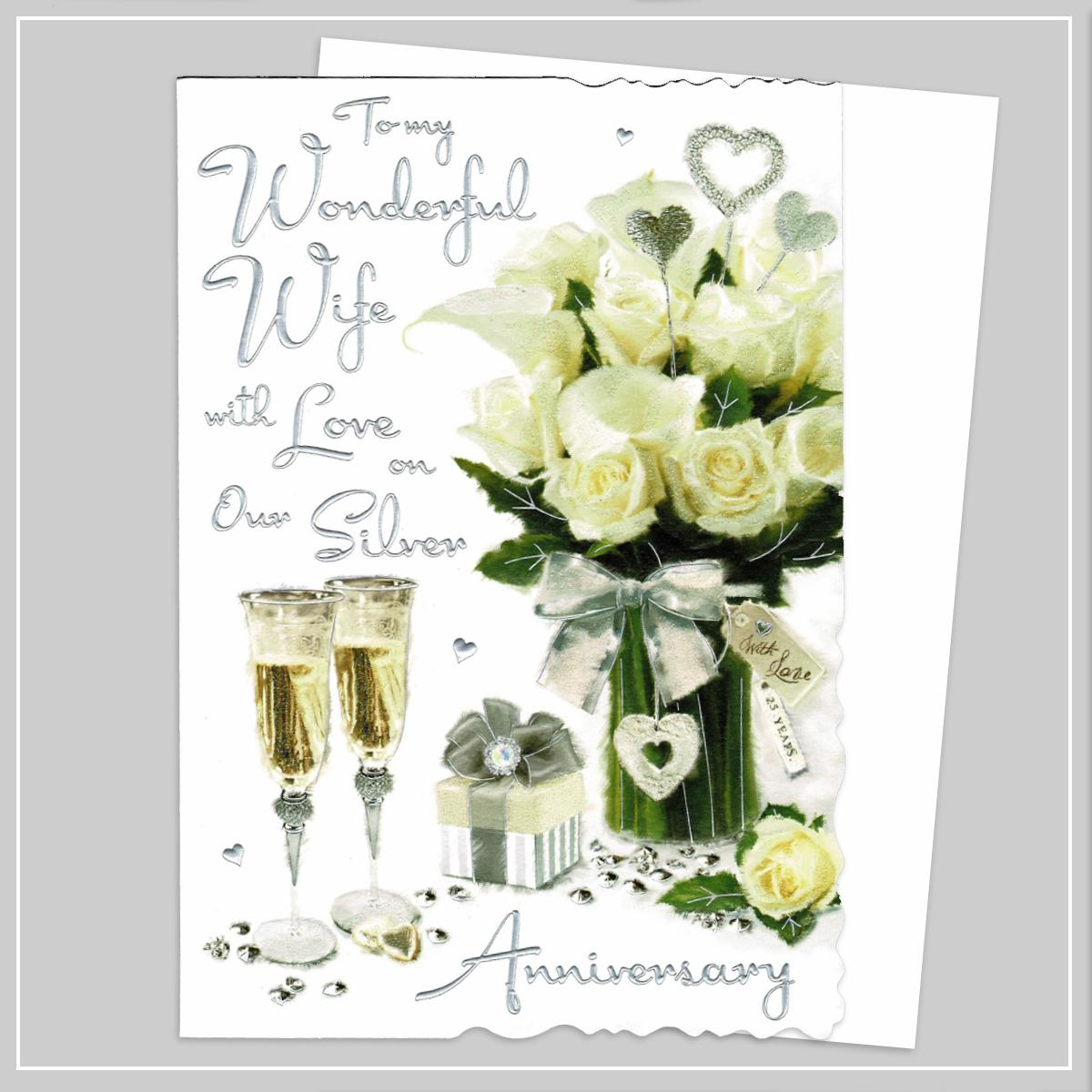 Wife Silver Anniversary Card Alongside Its White Envelope