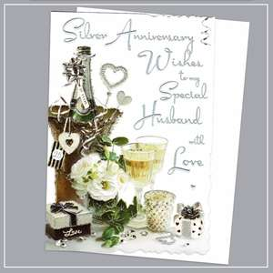 Husband Silver Anniversary Card Alongside Its White Envelope