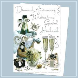 Husband Diamond Anniversary Card Alongside Its White Envelope