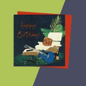 Guitar Themed Birthday Card Alongside Its Orange Coloured Envelope