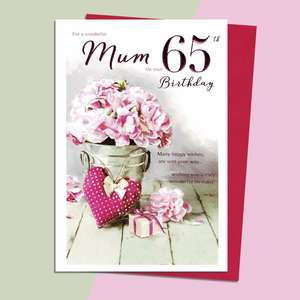 Mum Age 65 Birthday Card Alongside Its Magenta Envelope