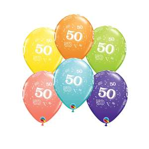 Image Of 6 Inflated Age 50 Multicoloured Latex Balloon