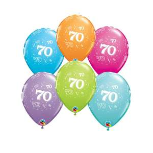 Image Of 6 Inflated Age 70 Multicoloured Latex Balloons