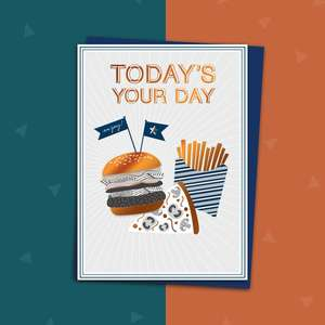 Beautiful Male Card Featuring A Burger, Pizza And Chips Complete With Copper Foil Lettering