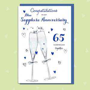 65th Anniversary Card Featuring A Pair Of Champagne Glasses