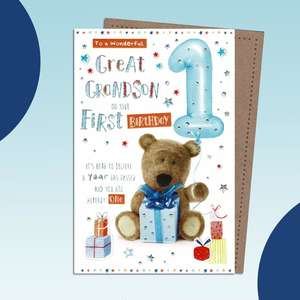 Great Grandson Age 1 Birthday Card Sat On A Wooden Display Shelf