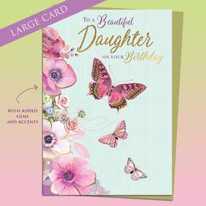 Beautiful Daughter Birthday Card Alongside Its Gold Envelope