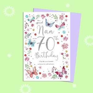Nan On Your 70th Birthday Card Alongside Its Lilac Envelope